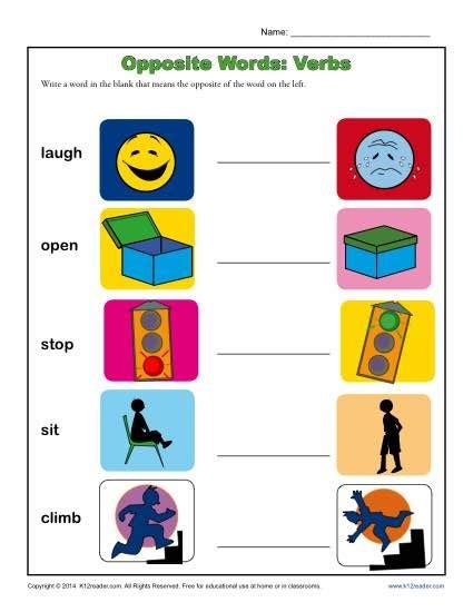 Kindergarten Antonym Worksheet  Opposite Words Verbs