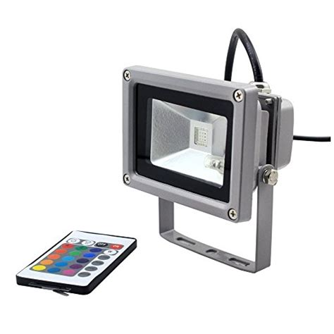 remote control flood lights goodia waterproof 10w rgb 16 color changing outdoor remote