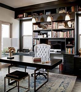 Black, Built, Home, Office, Traditional, With, Black, Office, Cabinets