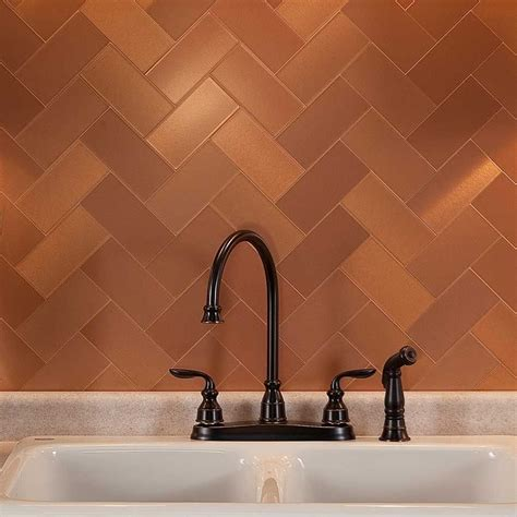 copper tiles for kitchen backsplash picture of aspect 3 quot x6 quot brushed copper short grain metal backsplash tile kit for the home