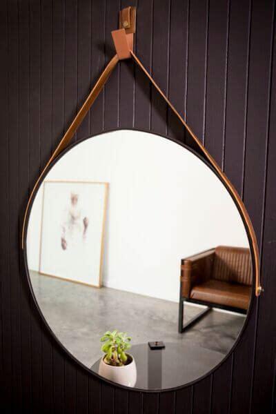 hanging  mirror black tan leather strap dark horse