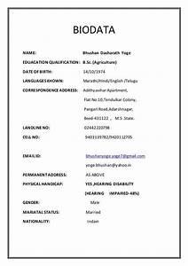 Biodata Form Sample Biodata Name Bhushan Dasharath Yoge Eduacation