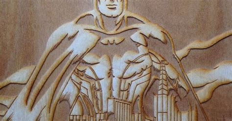 batman art engraved wood picture white  nerdy