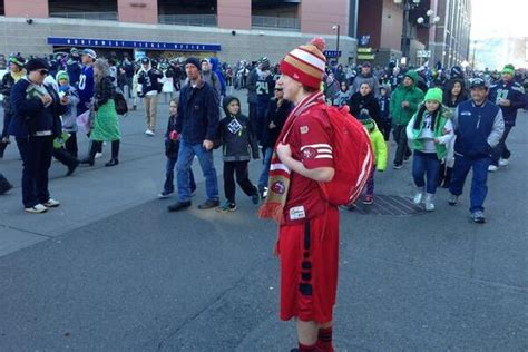 sf 49ers fan store fan decked out in 49ers gear shows up at seahawks