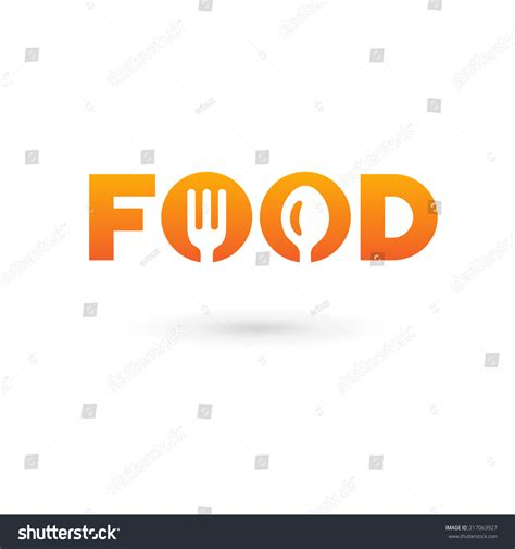 word for cuisine food word sign logo icon design stock vector 217063927