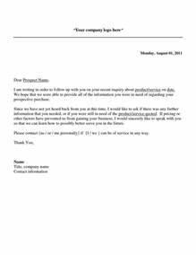 Follow Up Sales Letter A Potential Sales Prospect Has