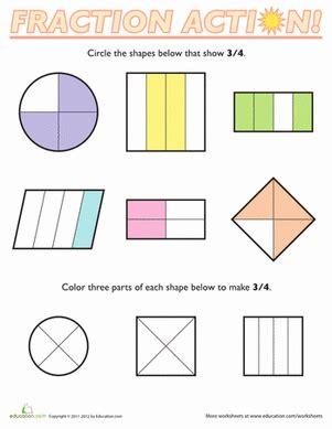 Fractions Of Shapes 34  Worksheet Educationcom