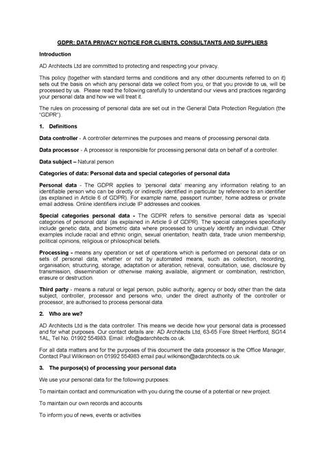 gdpr privacy notice gdpr data privacy notice ad architects