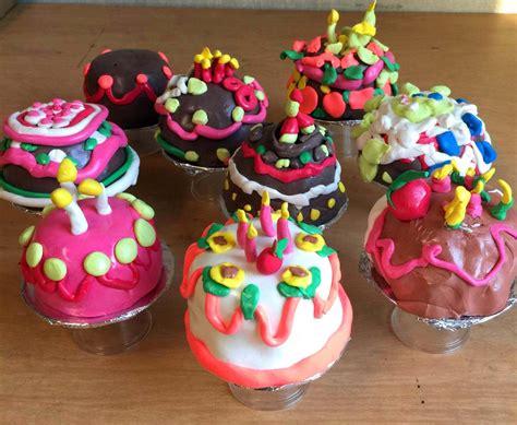 miniature cakes  model magic art projects  kids