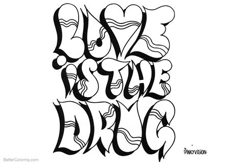 graffiti letters coloring pages love  drug