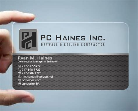 View more construction business cards > Construction Business Card Design for PC.Haines.INC Drywall & Ceiling Contractor by Hardcore ...