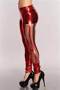 Metallic Red Leggings for Women