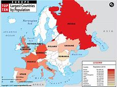 European Countries by Population, Largest Country in