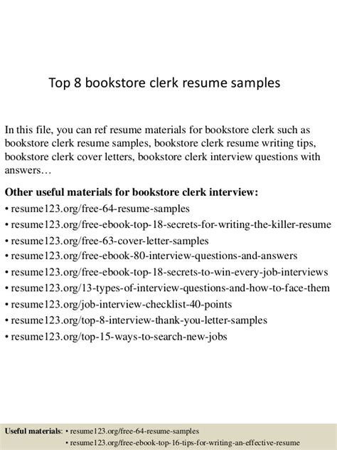 top 8 bookstore clerk resume sles