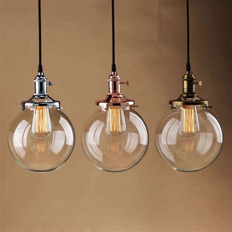 Vintage Industrial Pendant Light Glass Globe Shade Ceiling