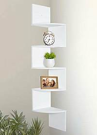 corner wall mount shelves white Greenco 5 Tier Wall Mount Corner Shelves White Finish   eBay