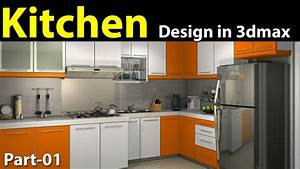Kitchen design in 3d max part 01 youtube for Kitchen furniture 3ds max free