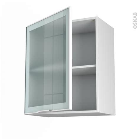 facade meuble cuisine ikea meuble haut ouvrant h70 façade blanche alu vitrée 1 porte l60xh70xp37 sokleo oskab