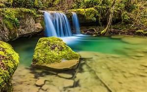 Nice, Small, Waterfall, Clear, Water, Rocks, With, Moss, Hd, Wallpapers, For, Mobile, Phones, And, Laptops