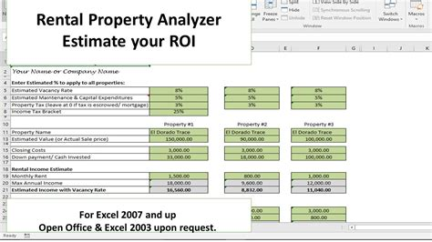investment template investment property excel spreadsheet buff