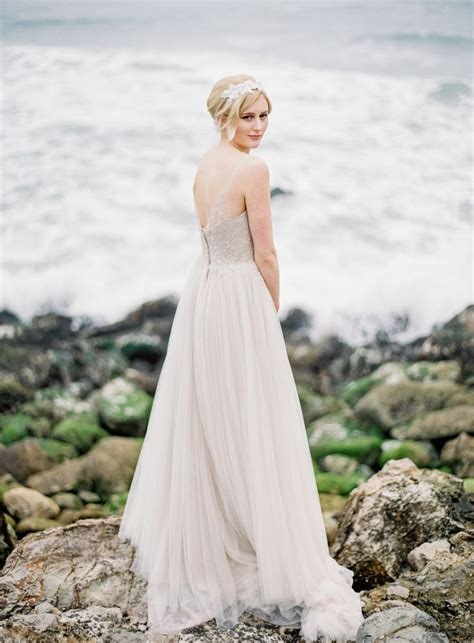 beach wedding dress in beige