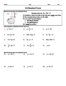 Holt Algebra 4.6 Standard Form (not in book) Worksheet DOC