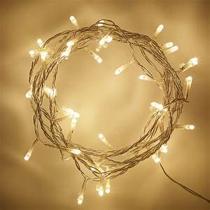 50, Warm, White, Led, Indoor, Fairy, Lights, On, Clear, Cable