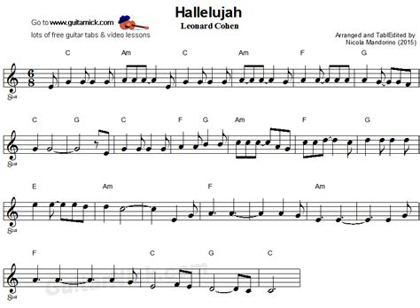 hallelujah easy guitar sheet guitar sheet