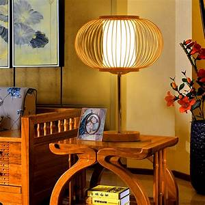 Chinese, Bamboo, Wood, Series, Table, Lamps, Bedside, Lamp, Lighting, Lamp, Bedroom, Garden, Living, Room
