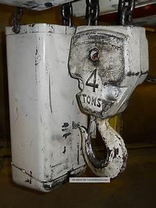 Coffing 4 Ton Hoist  Chain Fall Lift Powered Trolly 240v 480v 3 Phz