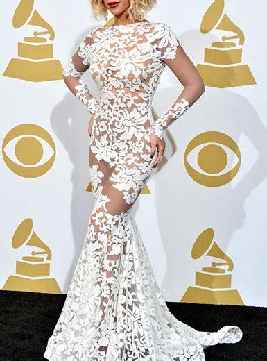 Semi Sheer Lace Mermaid Style Maxi Dress White Long