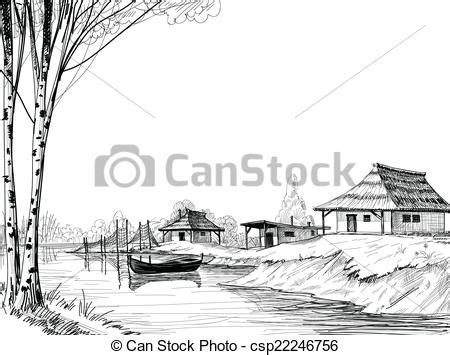 Village Boat Drawing by Fishing Village Sketch Clipart Vector Search