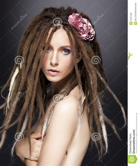 Fashion Woman Mod, Dreads Glamour Hairstyle Stock Image