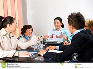 Business People With Diagram At Meeting Stock Images