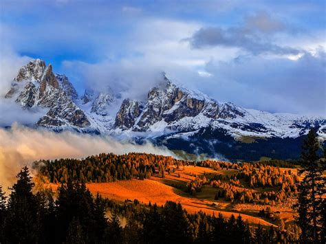 landscapes kastelruth castelrotto italy magic sunset