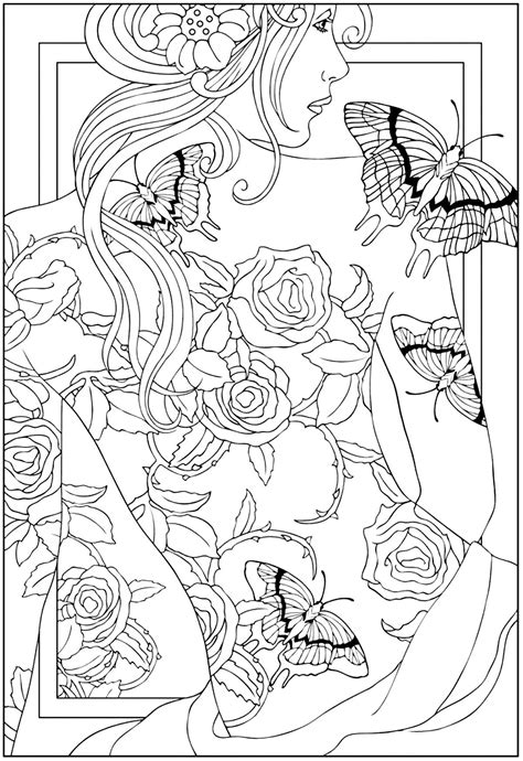 Free coloring page coloring-adult-back-tattooed-woman. coloring-adult-back-tattooed-woman