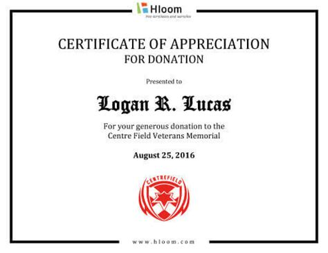 Certificate Of Appreciation For Donation Template by 8 Free Printable Certificates Of Appreciation Templates