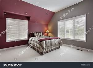 Large Bedroom Maroon Gray Walls Stock Photo 60780310
