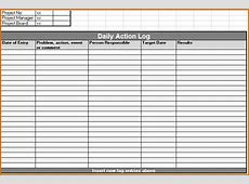 8+ daily activity log template Authorizationlettersorg