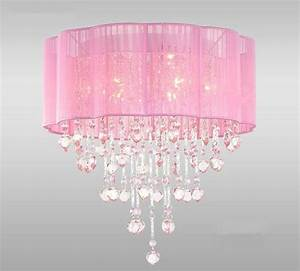 Pink drum shade crystal ceiling chandelier pendant light