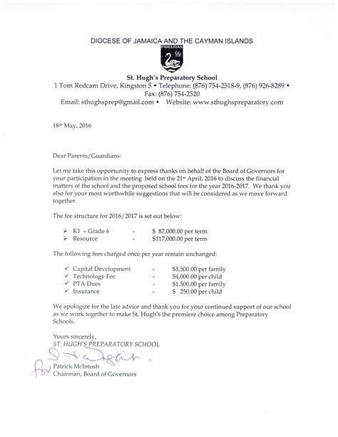 letter  parents school fees