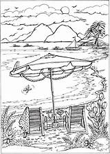 Coloring Pages Summer Books Adult Beach Adults Scenes Spring Sheets Haven Creative Dover Welcome sketch template