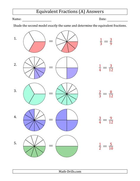 Equivalent Fractions Models Worksheet  Kidz Activities