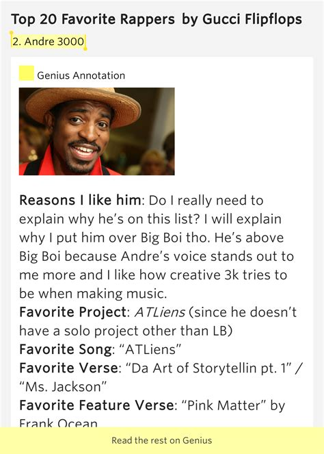 2 Andre 3000 Top 20 Favorite Rappers Lyrics Meaning