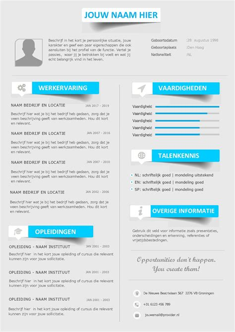 Cv Layout Template Word by Gratis Cv Templates Sjablonen In Word Format Icoontjes