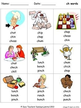 ch phonics lesson plans worksheets