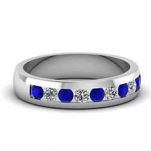 white gold round blue sapphire mens wedding ring with With mens blue diamond wedding rings