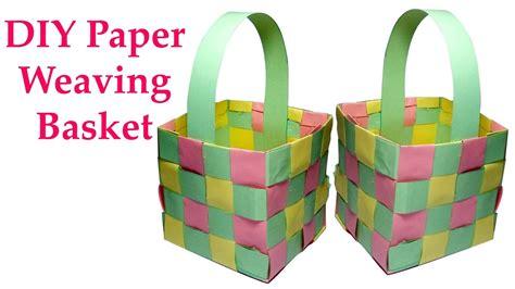 diy paper weaving basket youtube
