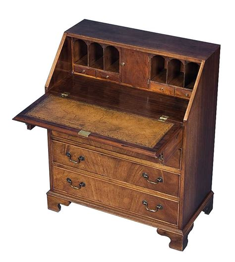 Antique Secretary Desk In Flame Mahogany With Brown
