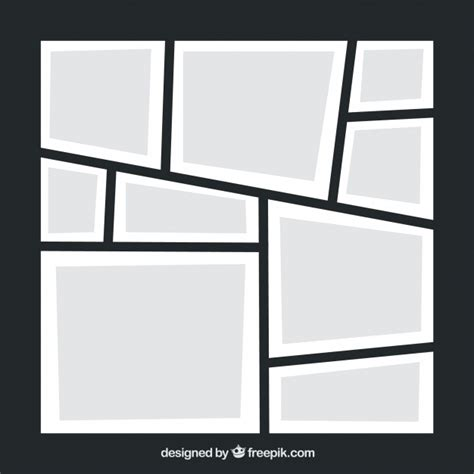 black photo frame collage template vector